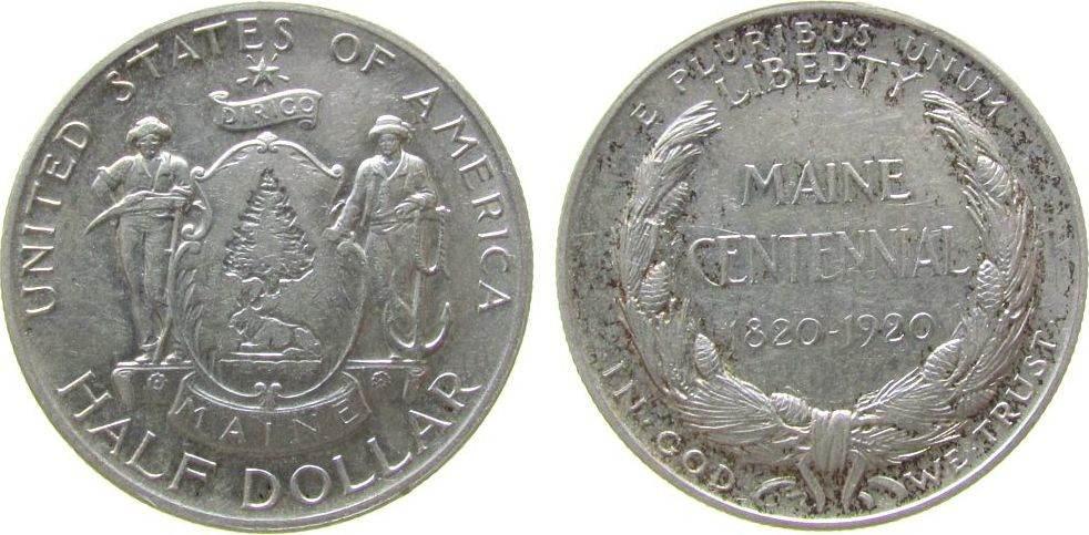 1/2 Dollar 1920 USA Ag Maine ss+