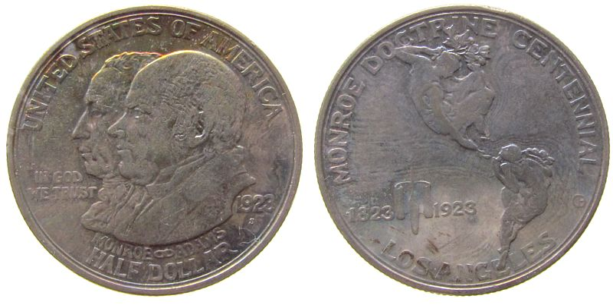 1/2 Dollar 1923 USA Ag Monroe Doktrin, Patina ss+