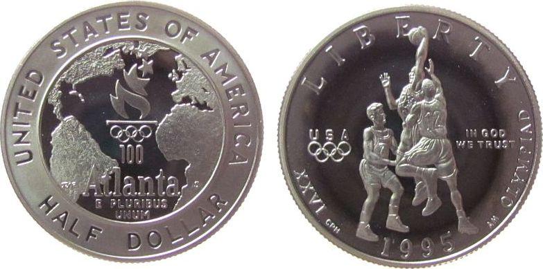 1/2 Dollar 1995 USA KN-Ku Basketballspieler Atlanta, S (San Francisco) pp