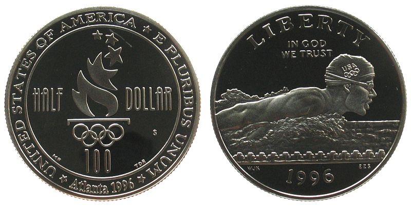 1/2 Dollar 1996 USA KN Schwimmen, Atlanta, S, ohne Box und ohne Zertifikat, kleiner Fleck pp
