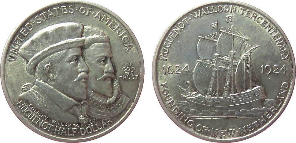 1/2 Dollar 1924 USA Ag Hugenotten vz-unc