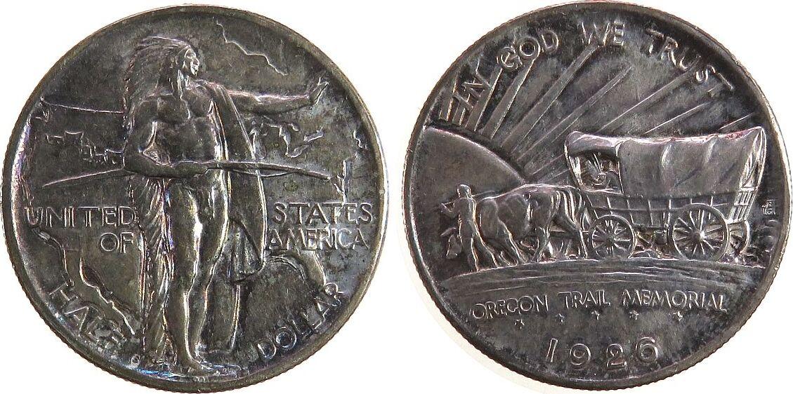 1/2 Dollar 1926 USA Ag Oregon Trail unz
