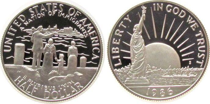 1/2 Dollar 1986 USA KN Freiheitsstatue, S, org.VP+Zert pp
