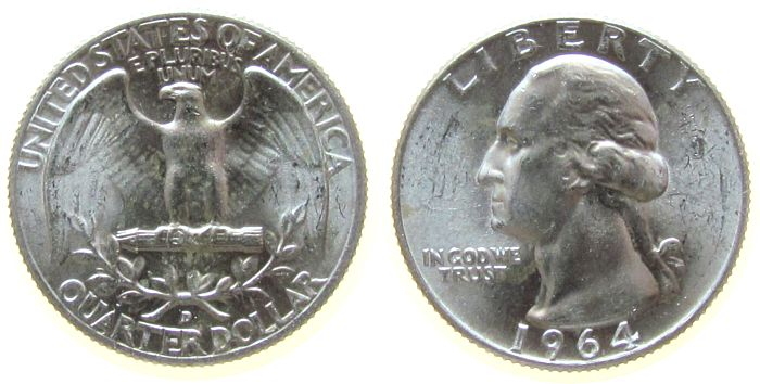1/4 Dollar 1964 USA Ag Washington, D (Denver) vz-unc