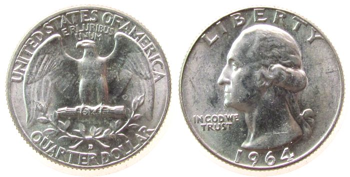 1/4 Dollar 1964 USA Ag Washington, D (Denver), kleiner Fleck vz-unc