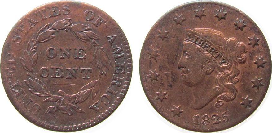 1 Cent 1825 USA Br Coronet, gereinigt ss+