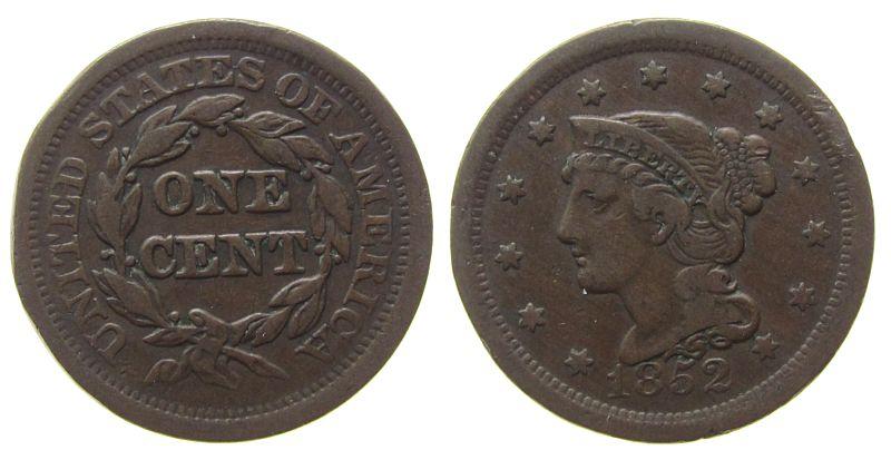 1 Cent 1852 USA Br Braided Hair, Vergoldungsreste ss
