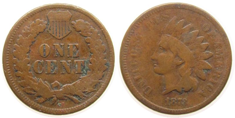 1 Cent 1873 USA Br Indian head sgs-s