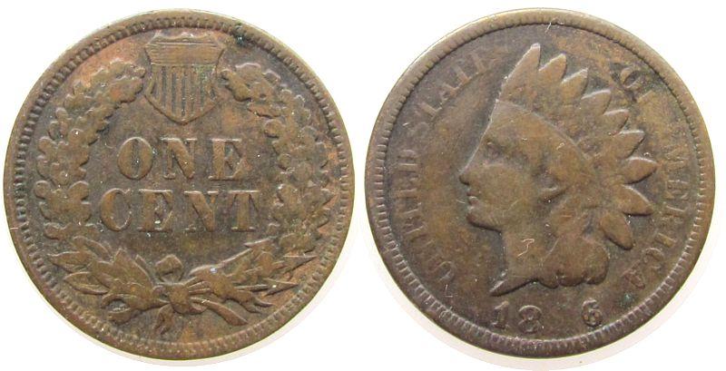 1 Cent 1886 USA Ku Indian Head, Prägefehler (Stempelverschmutzung) im Datum schön