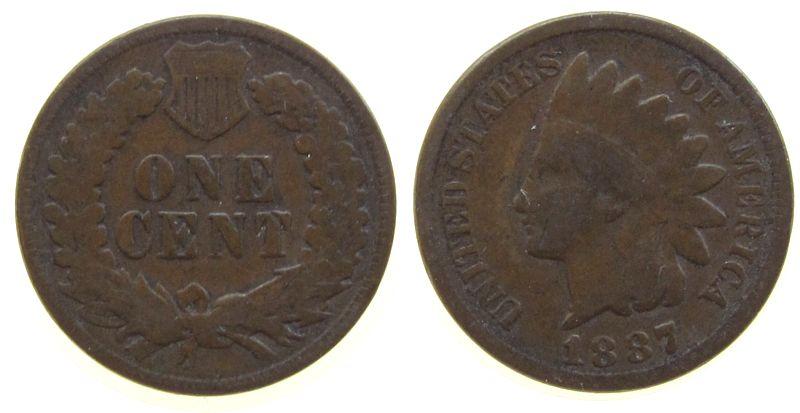 1 Cent 1887 USA Br Indian Head schön