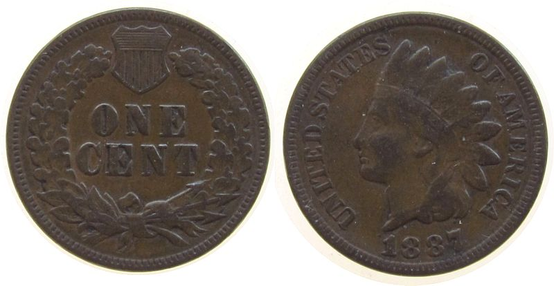 1 Cent 1887 USA Br Indian Head ss