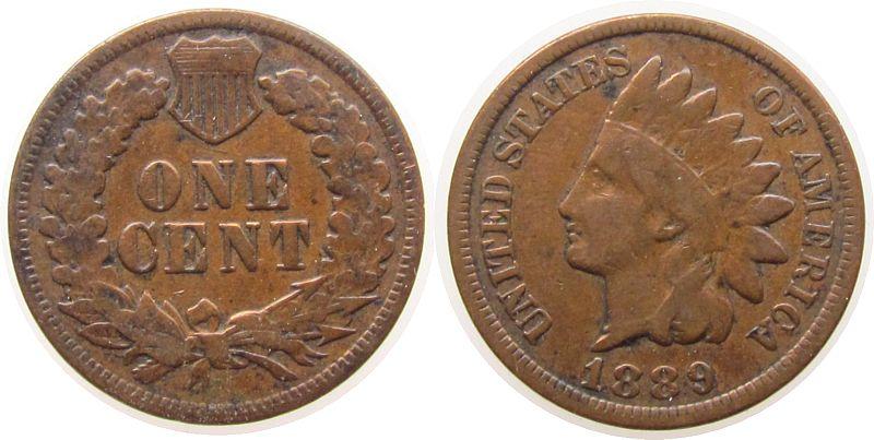 1 Cent 1889 USA Br Indian Head schön