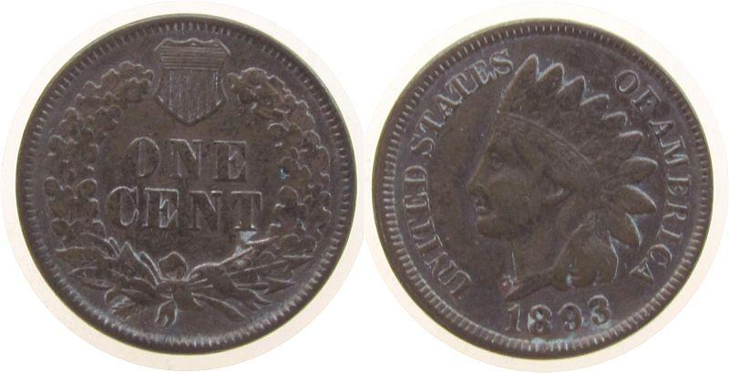 1 Cent 1893 USA Ku Indian Head, gereinigt ss