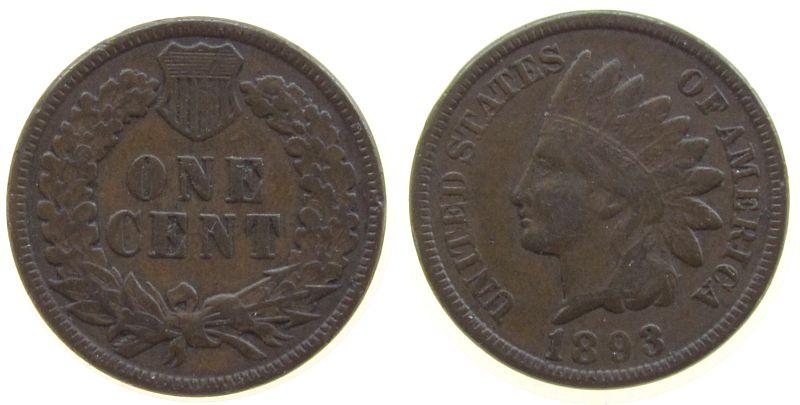 1 Cent 1893 USA Ku Indian Head ss-