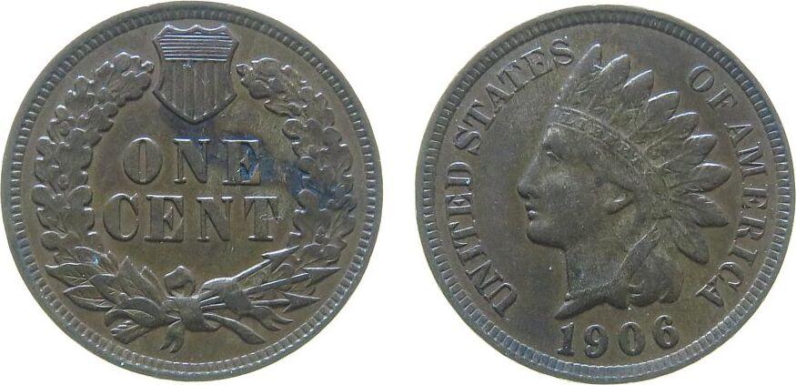 1 Cent 1906 USA Br Indian Head vz