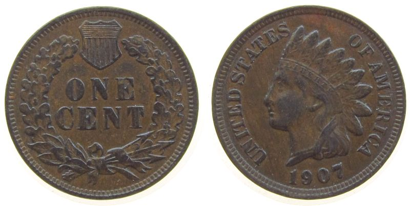 1 Cent 1907 USA Br Indian Head vz