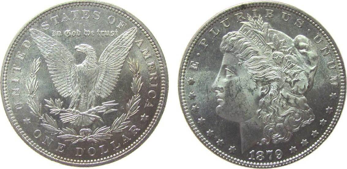 1 Dollar 1879 USA Ag Morgan, spiegelnder Münzgrund vz-unc
