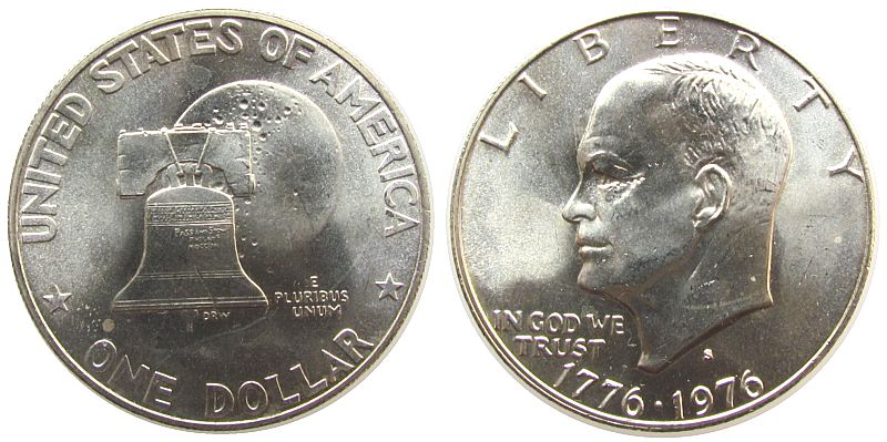 1 Dollar 1976 USA Ag Eisenhower, S (San Francisco), kleiner Fleck unz