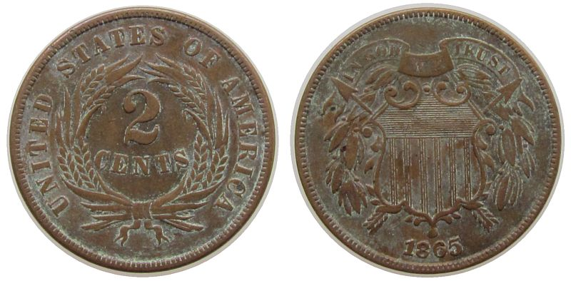2 Cents 1865 USA Br . ss