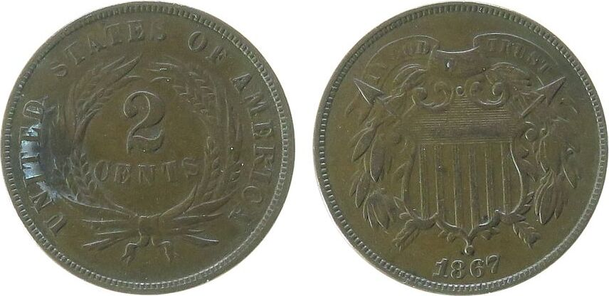 2 Cents 1867 USA Br ss