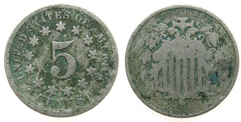 5 Cents 1869 USA KN korrodiert schön