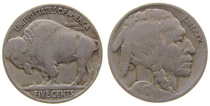 5 Cents 1917 USA KN Büffel schön