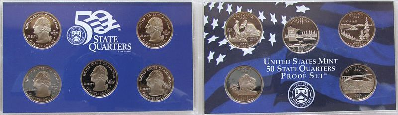 5 x ¼$ 2005 USA KN 50 State Quarters Proof Set, mit Zertifikat OHNE Verpackung pp