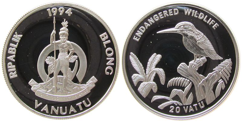 20 Vatu 1994 Vanuatu Ag Santo - Grünkopfliest pp