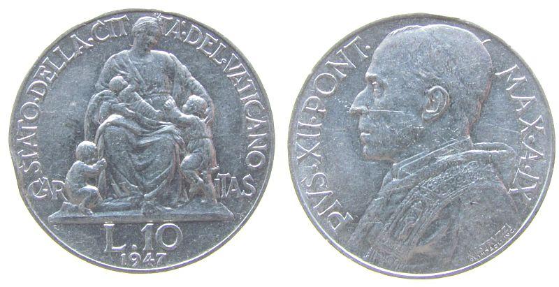 10 Lire 1948 Vatikan Al Pius XII, Randstoß, feiner Kratzer vz