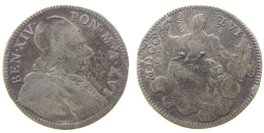 1/5 Scudo 1756 Vatikan Ag Benedict XIV, Anno XVI, Doppio Giulio, Broschur-/Lötspur (?) schön