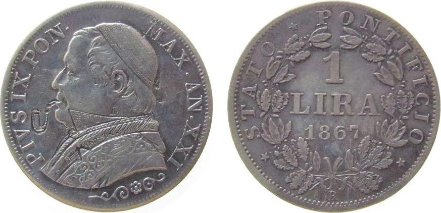 1 Lira 1867 Vatikan Ag Pius IX, Anno XXI, Gravur mit Stehkragen, Käppi und Pfeife ss