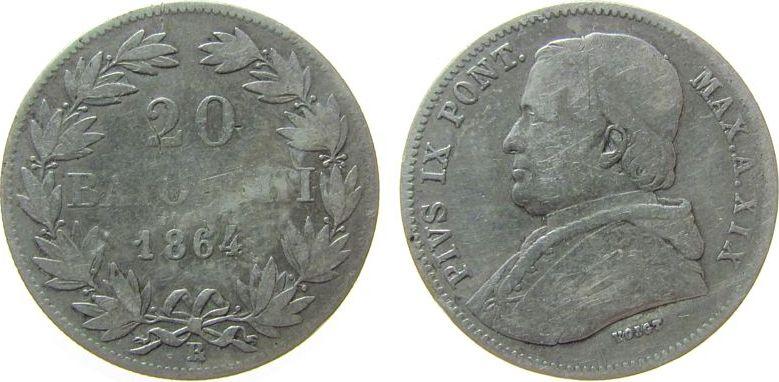 20 Baiocchi 1864 Vatikan Ag Pius IX, Jahr XIX, Berman 3313 schön