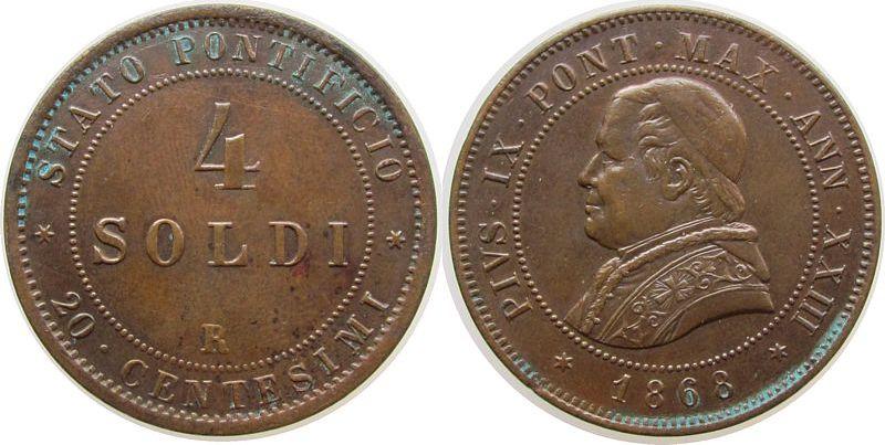 4 Soldi 1868 Vatikan Ku Pius IX, Jahr XXIII, kleiner Randfehler, etwas Grünspan, Berman 3346 vz