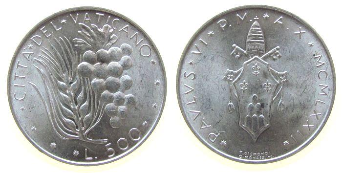 500 Lire 1972 Vatikan Ag Paul VI vz-unc
