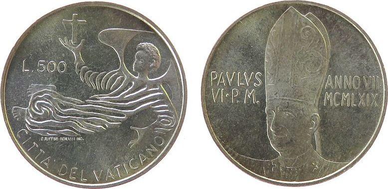 500 Lire 1969 Vatikan Ag Paul VI, 7. Pontifikat unz