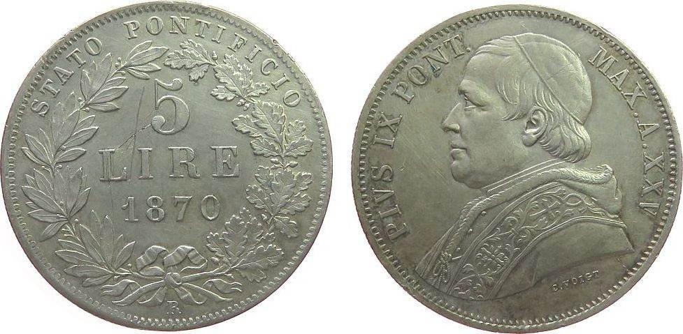 5 Lire 1870 Vatikan Ag Pius IX, ANNO XXV, etwas berieben, kleine Randfehler, feine Grafitti über