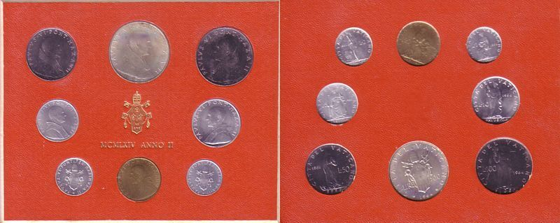 688 Lire 1964 Vatikan Ag Paul VI, Original Kursmünzensatz unz