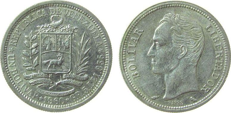 1 Bolivar 1960 Venezuela Ag Bolivar vz-unc