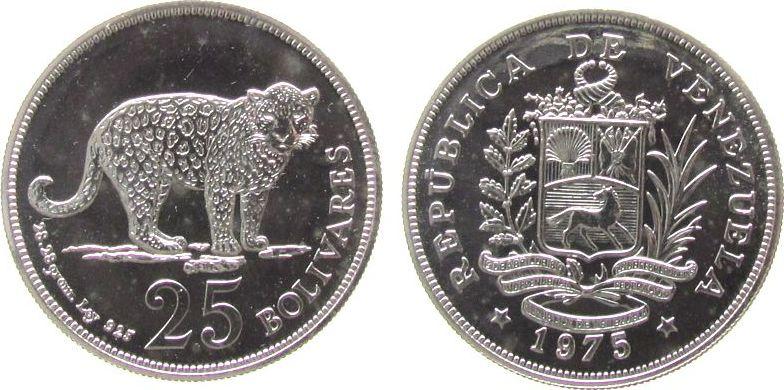 25 Bolivar 1975 Venezuela Ag Jaguar, etwas fleckig unz