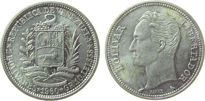 2 Bolivanos 1960 Venezuela Ag Bolivar, etwas Patina vz-unc