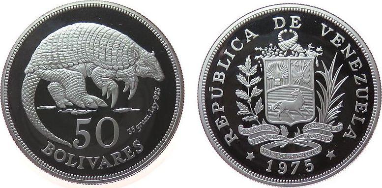 50 Bolivar 1975 Venezuela Ag Gürteltier pp
