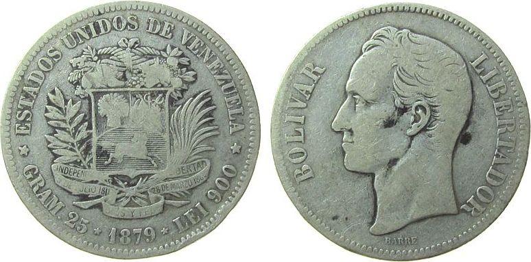 5 Bolivares 1879 Venezuela Ag Bolivar schön