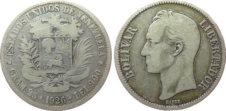5 Bolivares 1926 Venezuela Ag Bolivar gutes schön