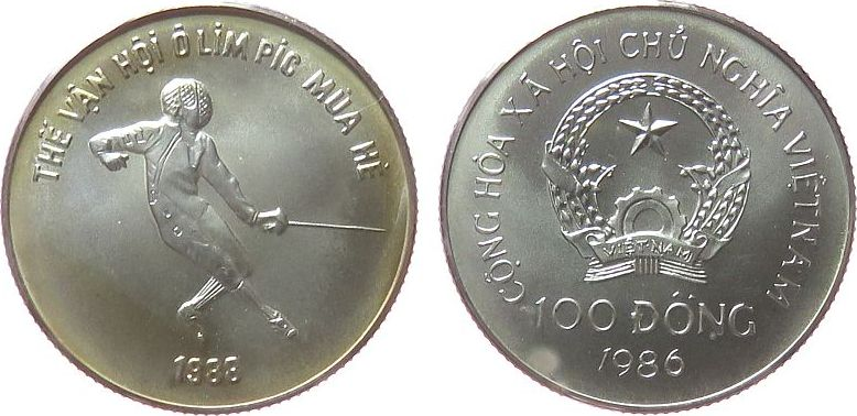 100 Dong 1986 Vietnam Ag Olympiade Fechten, kleiner Fleck stgl