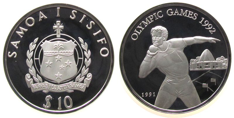 10 Tala 1991 West Samoa Ag Olympiade Kugelstoßen pp
