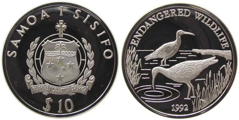10 Tala 1992 West Samoa Ag Borstenbrachvögel, kleine Flecken pp