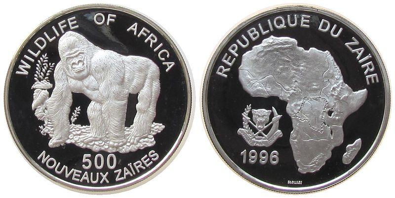 500 N. Zaires 1996 Zaire Ag Gorilla pp