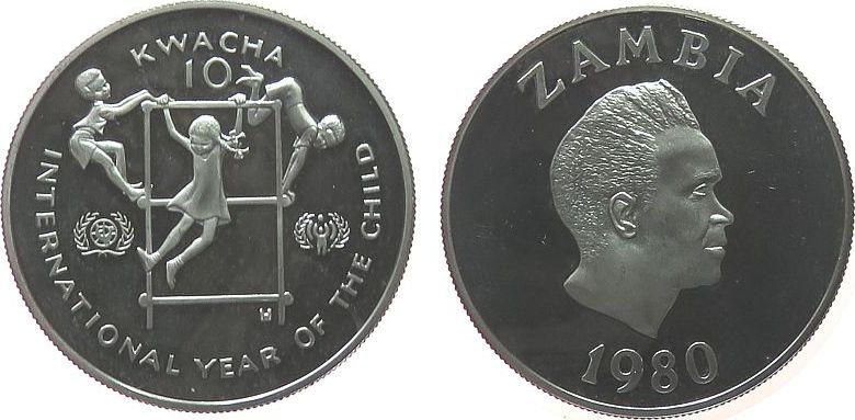 10 Kwacha 1980 Zambia Ag Jahr des Kindes, etwas fleckig, etwas berieben pp
