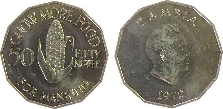 50 Ngwee 1972 Zambia KN FAO, Maiskolben vz-unc