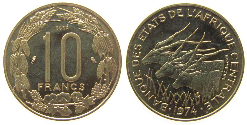 10 Francs 1974 Zentral Afrik. Staaten AlBr Elenantilopen, Essai, 1550 Ex. stgl